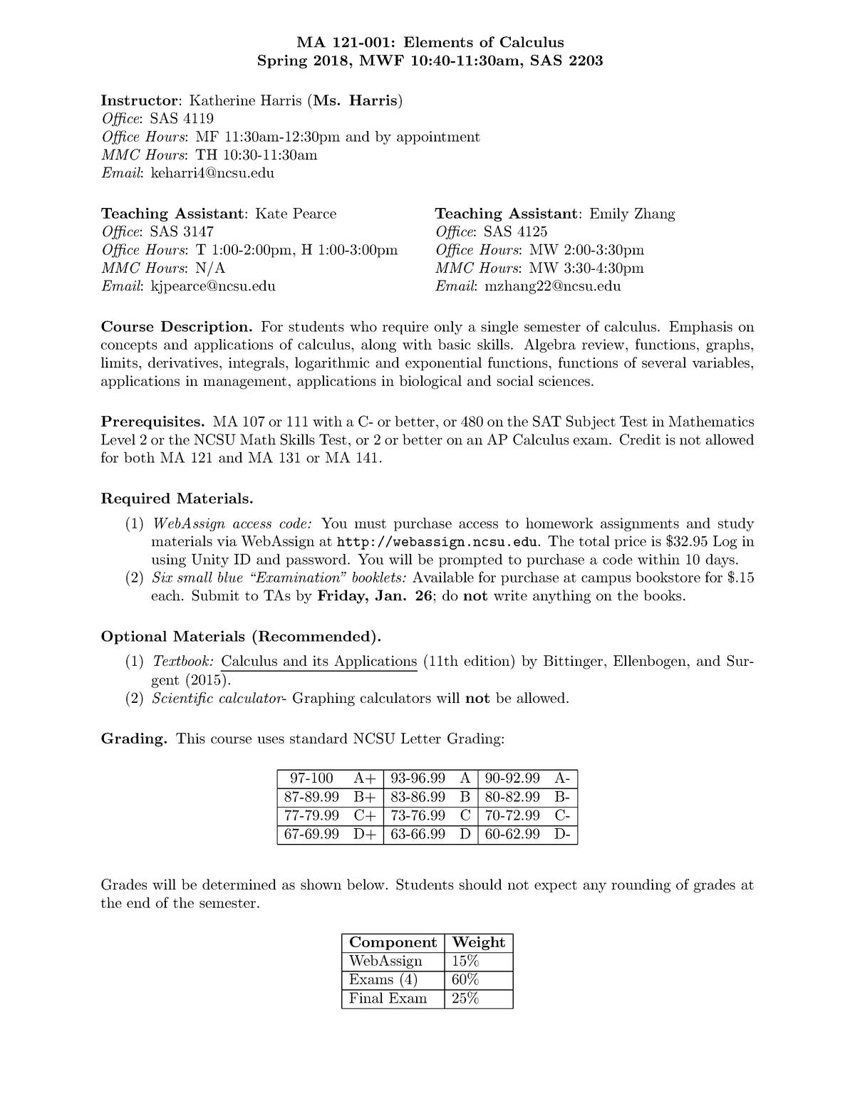 MA121-001 Spring 2018 Syllabus - MA 121: Elements of