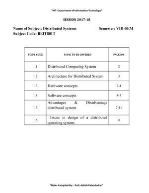 Unit I Introduction Lecture Notes 5 Distributed System Studocu