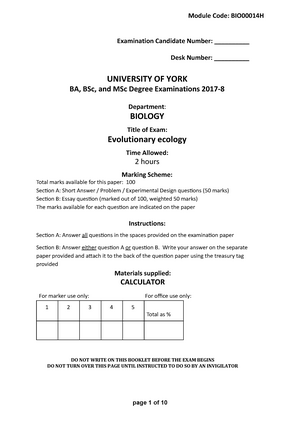 Exam 2018 - BIO00014H: Evolutionary Ecology - StuDocu