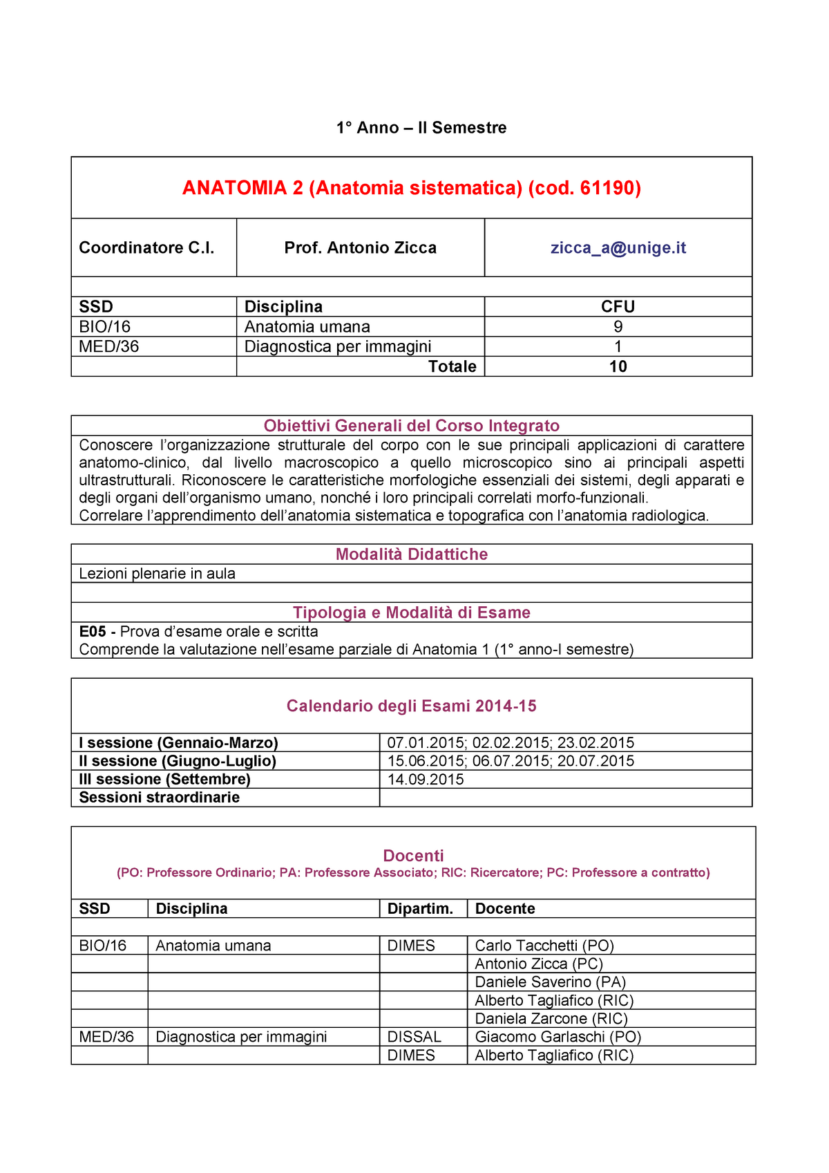 Calendario Medicina Unige.Anatomia 2 58164 Unige Studocu