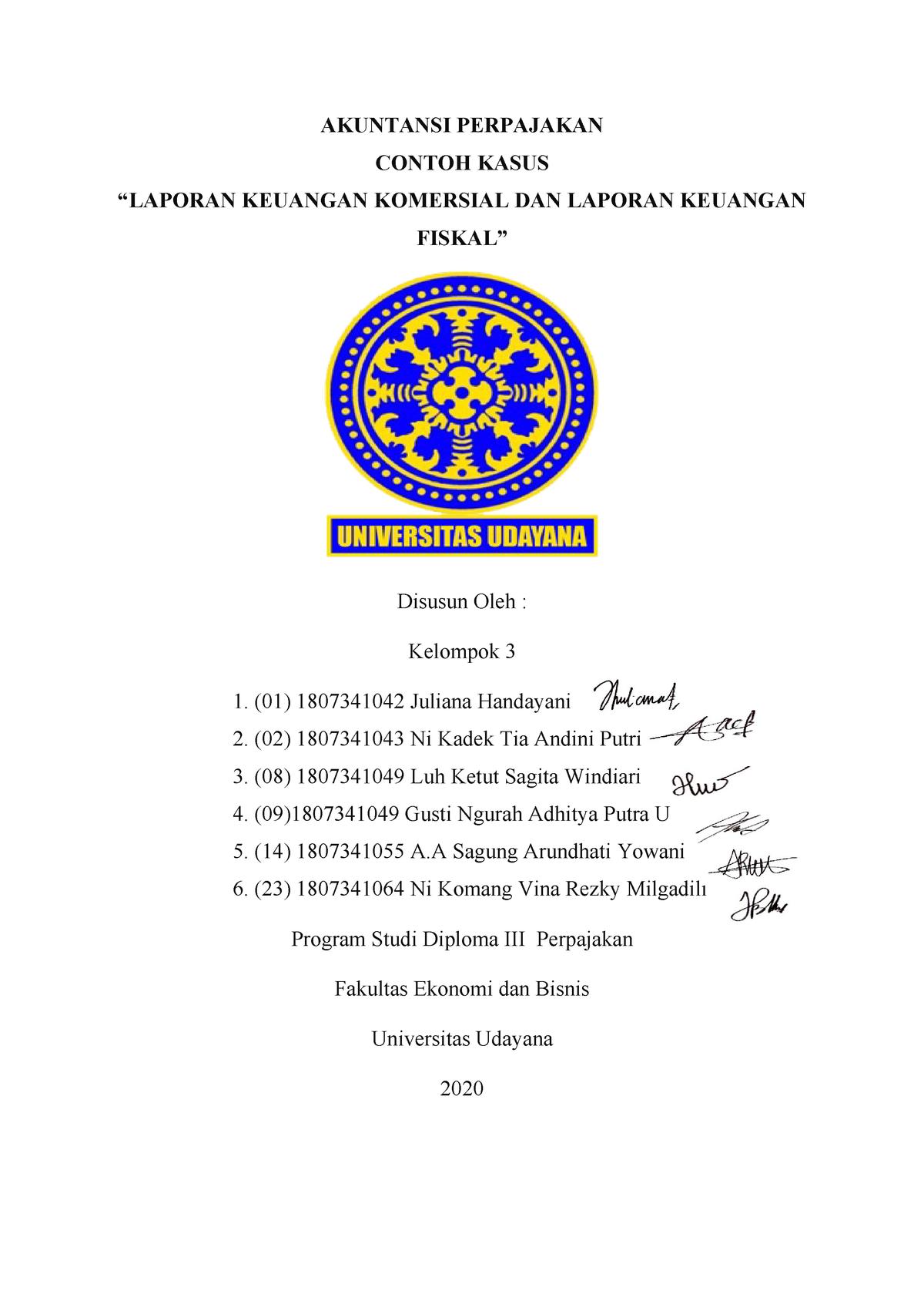 Contoh Kasus Laporan Keuangan Komersial Dan Fiskal Akuntansi Perpajakan Contoh Studocu