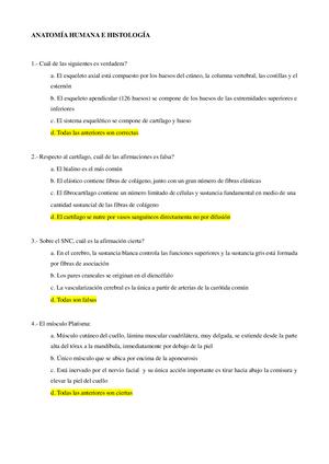Examen 2015 - 319161101: Anatomía Humana - StuDocu