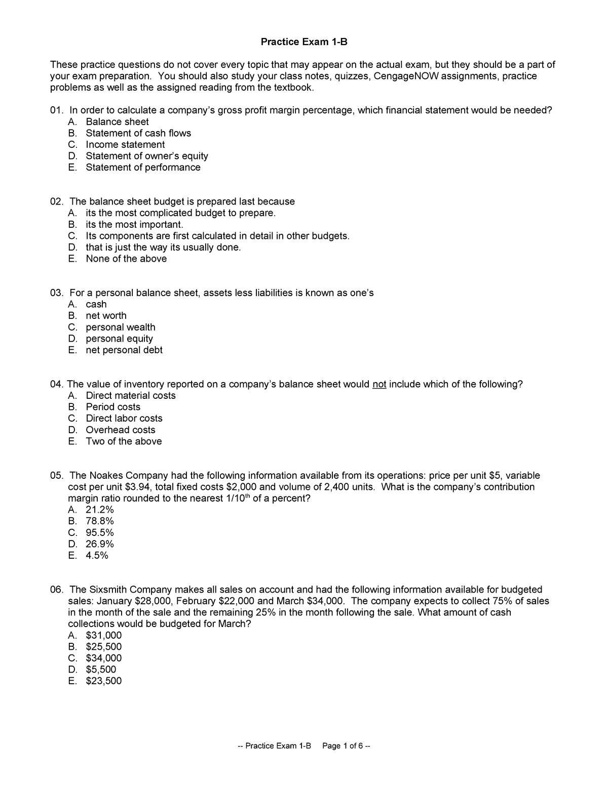 Exam 2015 - ACC 310: Foundations Of Accounting - StuDocu