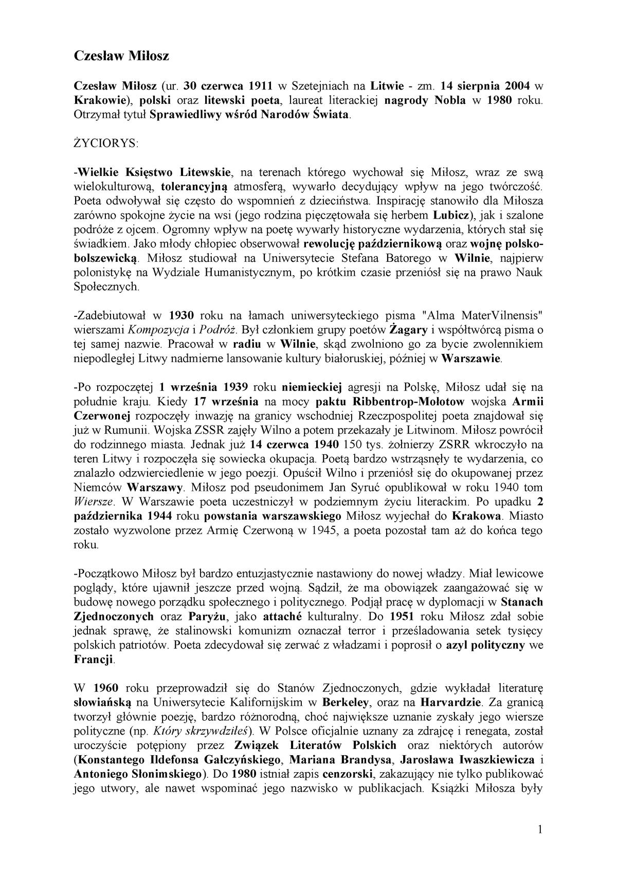 Miłosz Czesław Poezje Filologia Polska Filologia Polska