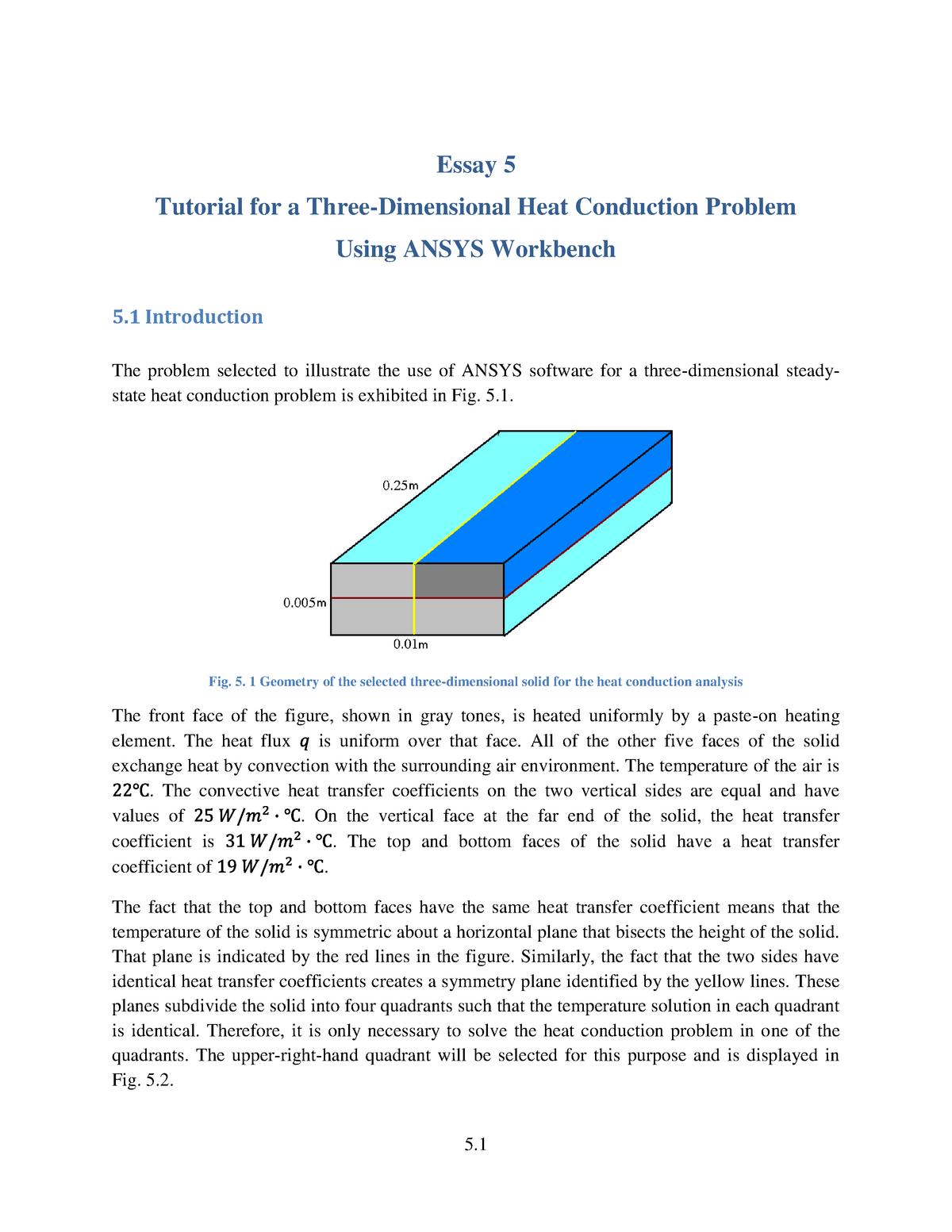 Week 12 Heat Transfer Analysis Tutorial - ME 371: Mechanical