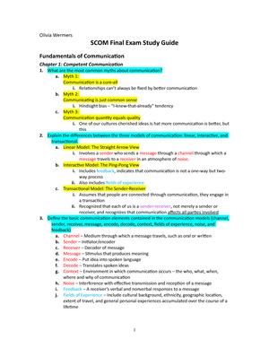 SCOM Final Exam Study Guide - SCOM 123 - StuDocu