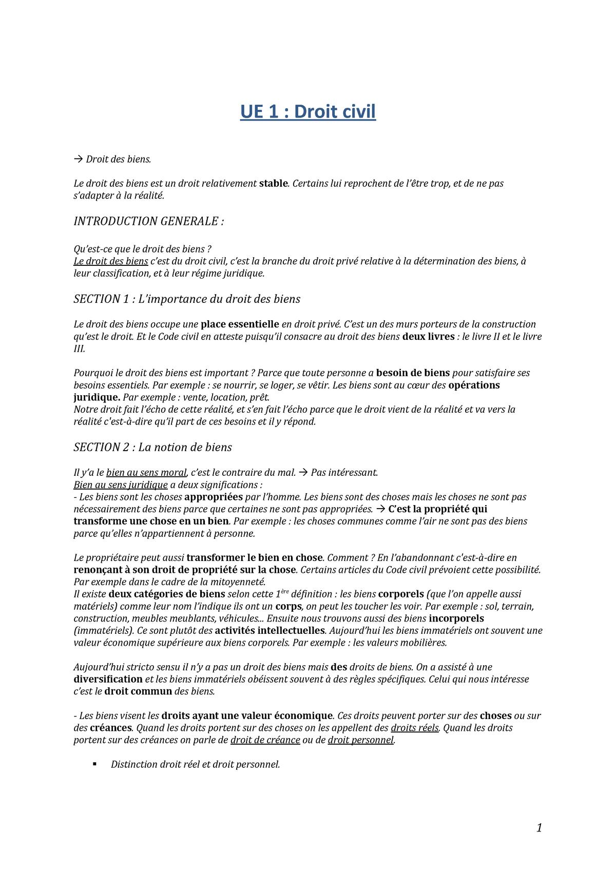 Droit Civil Des Biens Cours Enseigne Par Madame Corinne Beringuie Calmels Ue Studocu