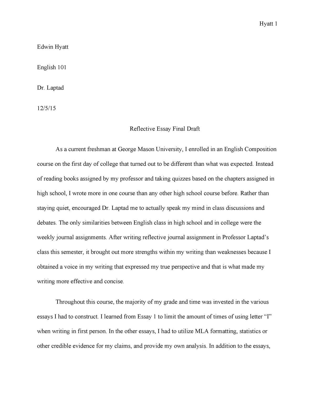 Essay On Mathematicians  Example Discussion Essay also Example Analysis Essay Reflective Essay  Edwin Hyatt Iii  Engh  Composition  Essays On Childhood Memories