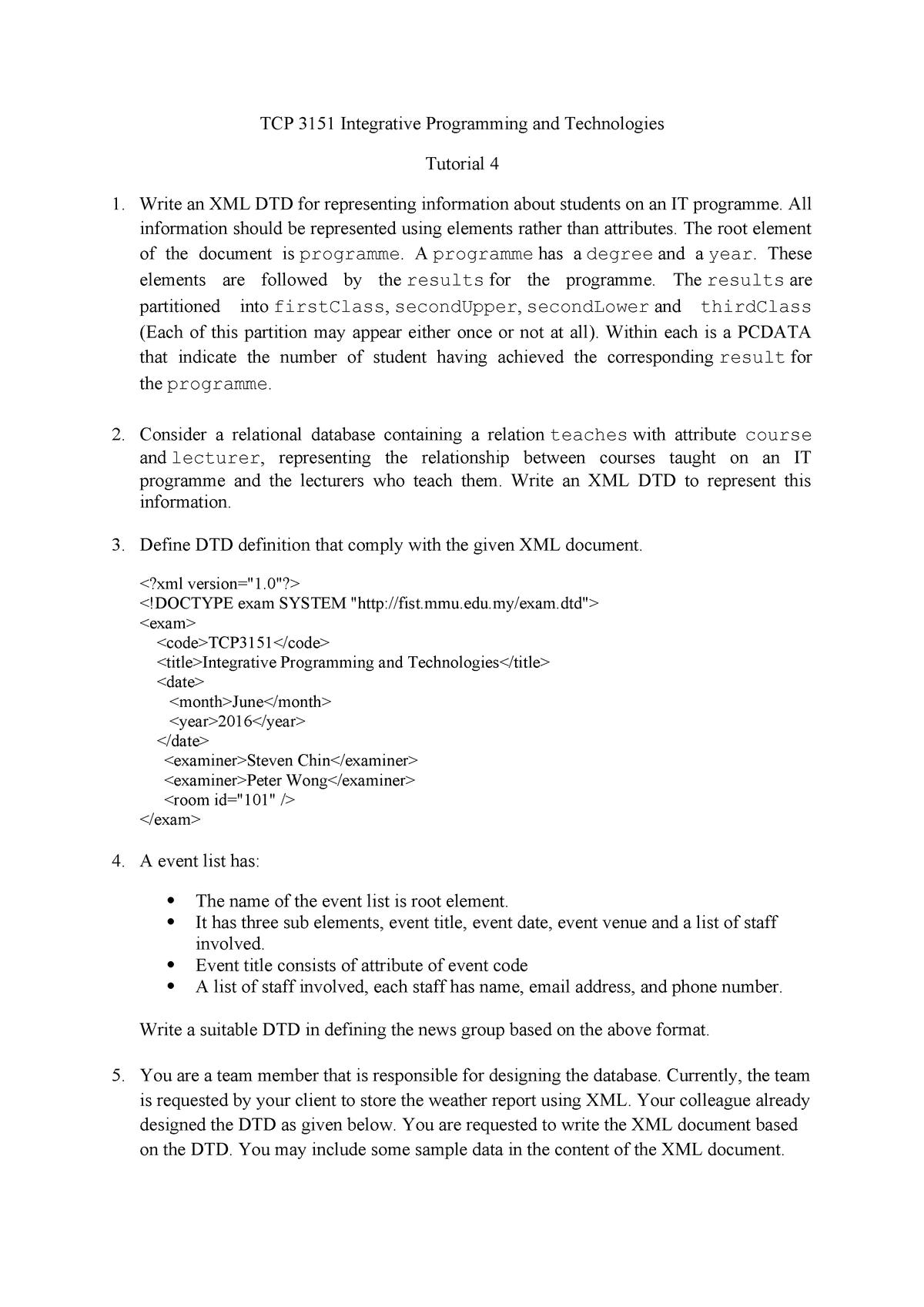 222594 Tut 04 - INTE PROG AND TECH - TCP3151: Integrative