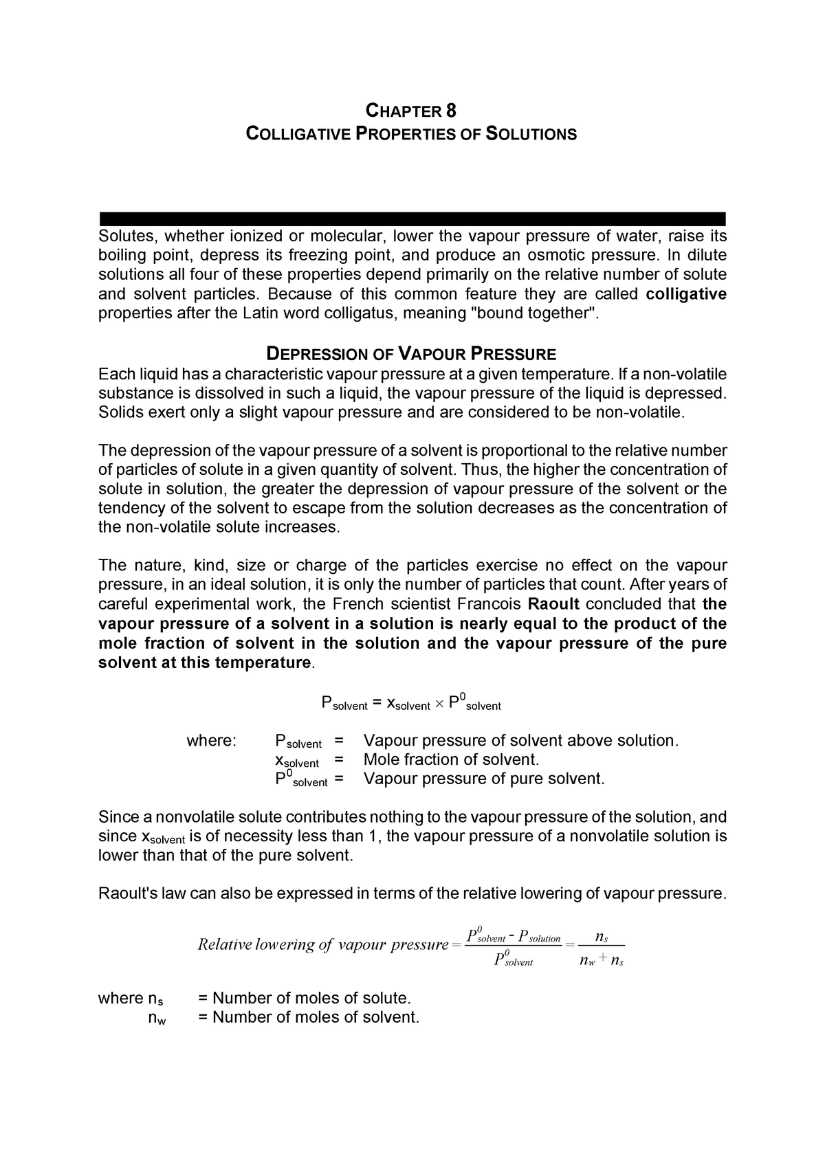 Phys Chem 2 Notes Chapter 3 - Colligative properties 2 - StuDocu