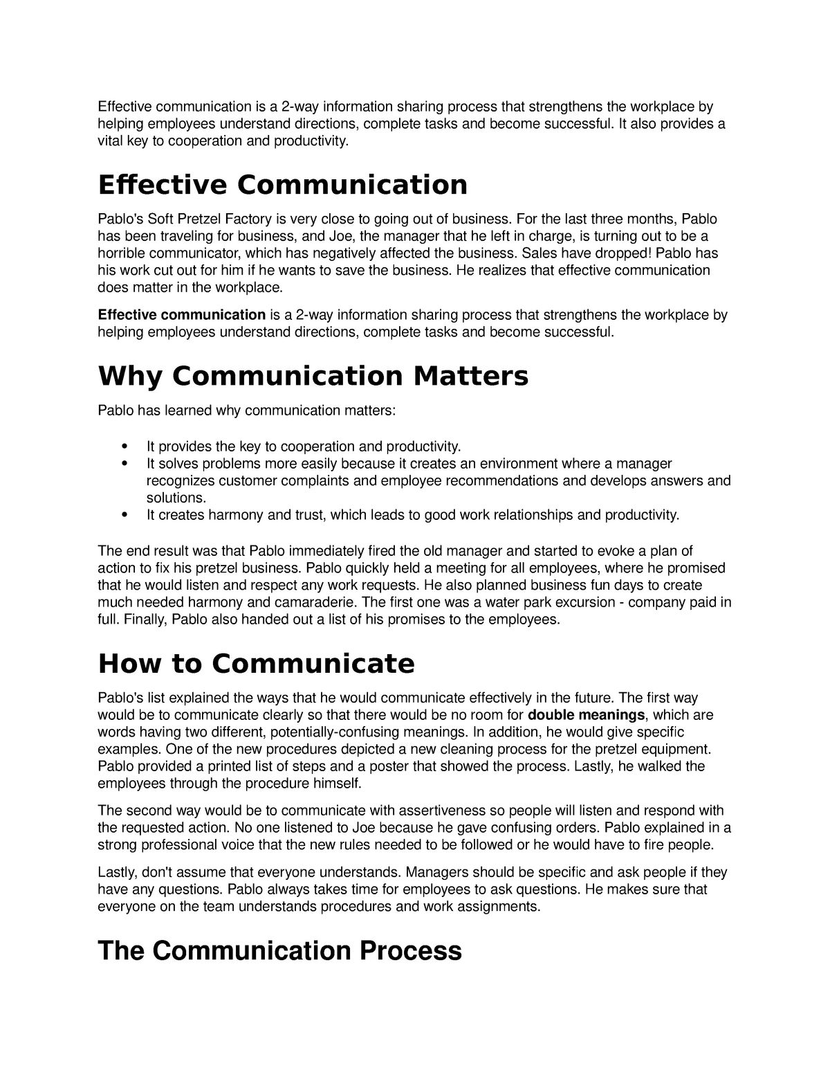 Communication - Lecture notes 1 - Business communication