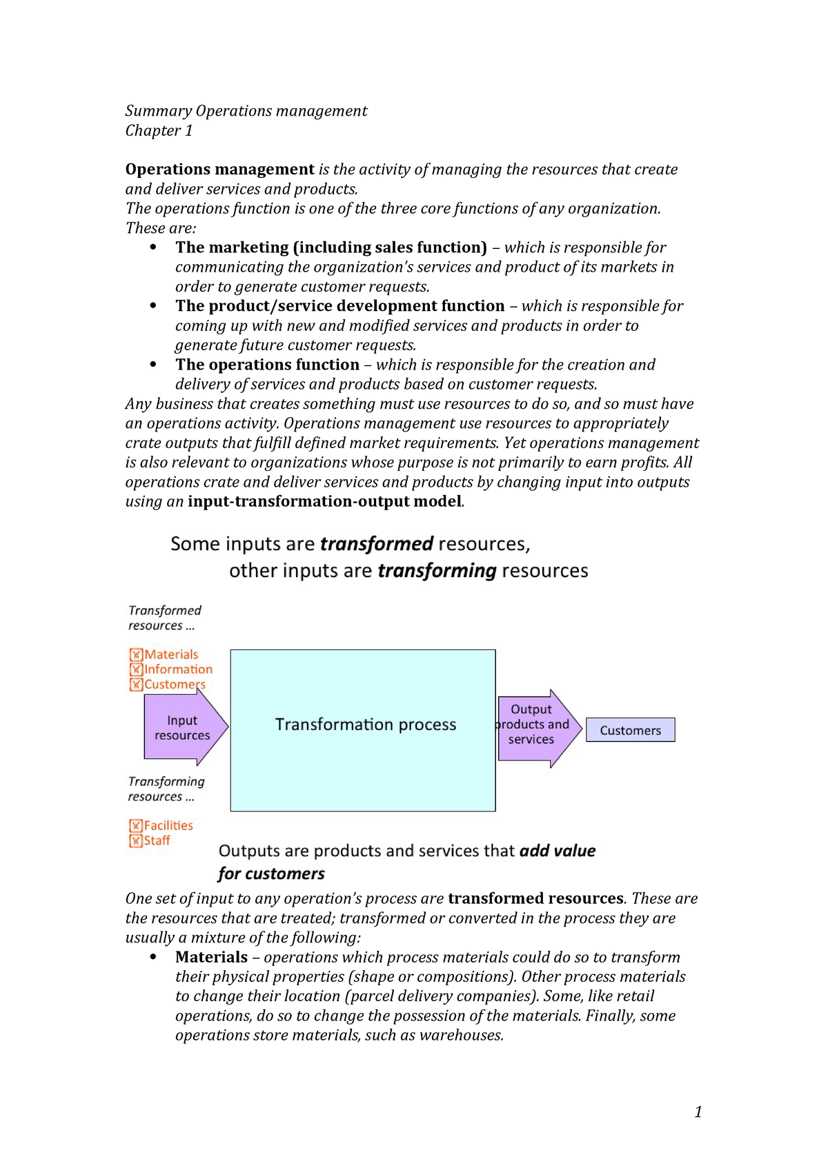 Summary Operations Management - Summary Chapter 1-19