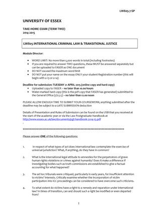 Exam June 2014, questions - International Criminal Law - StuDocu