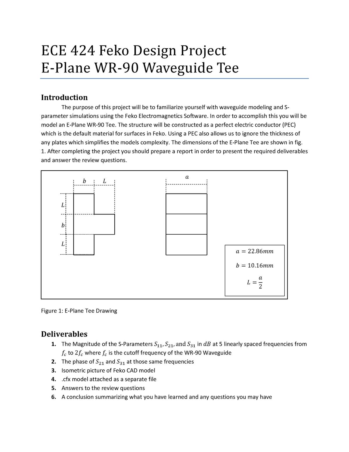 ECE 424 Feko Design Project - ECE 424: Rf And Microwave