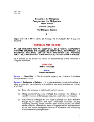 RA-9003 - Republic Act 9003 - ECE: ECE - StuDocu