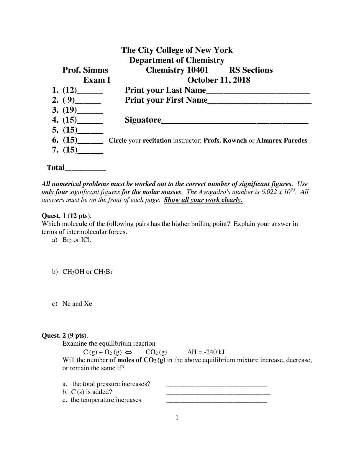 Exam 2018 - CHEM 10401: General Chemistry II - StuDocu