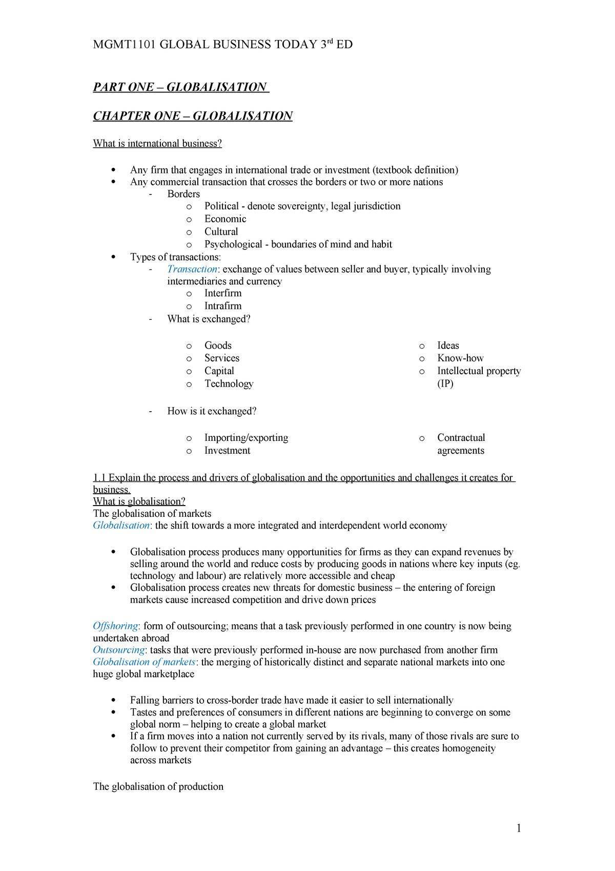 Summary - Textbook notes  - MGMT1101 - UNSW - StuDocu