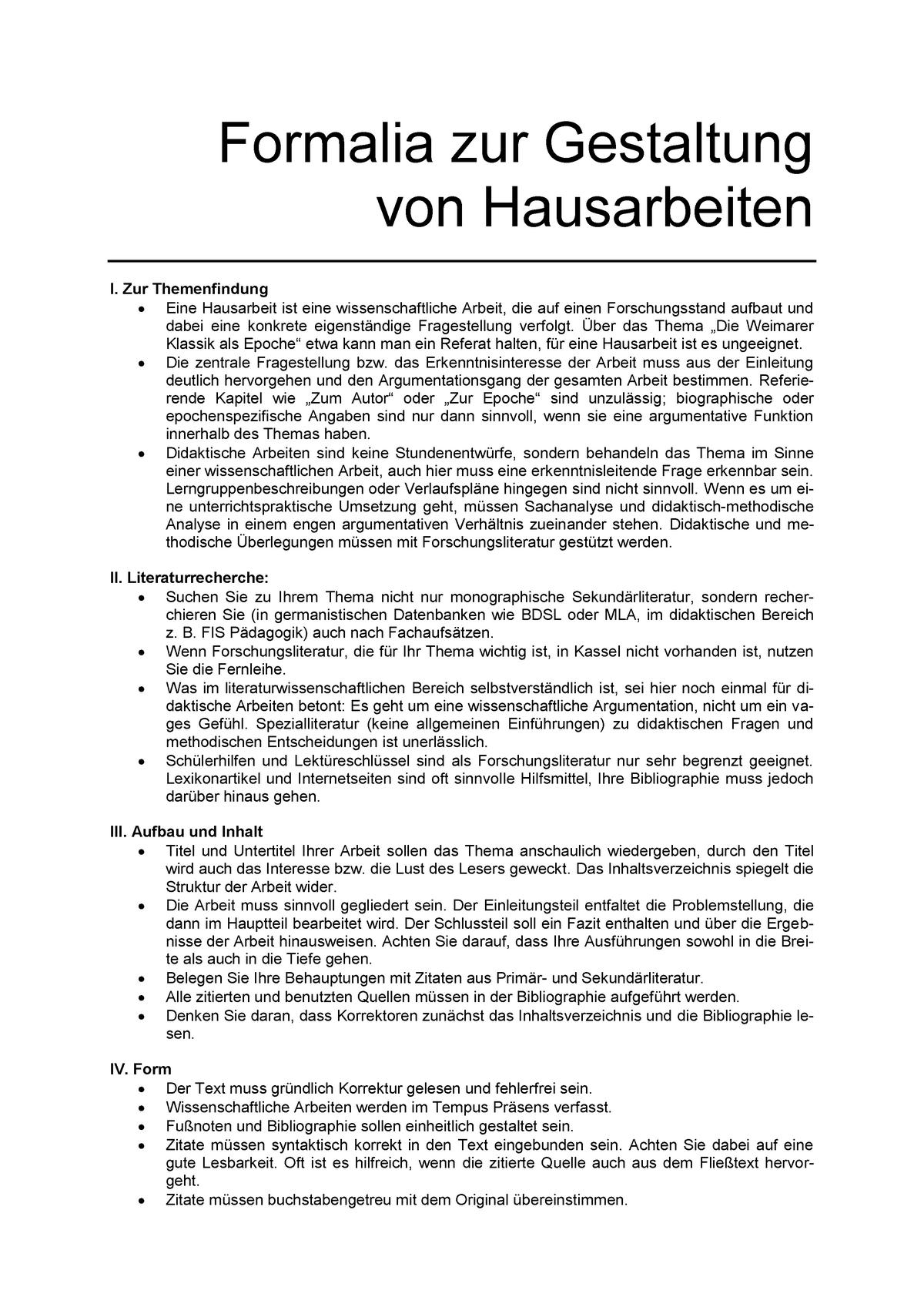 Formalia Hausarbeit Uni Kassel Studocu