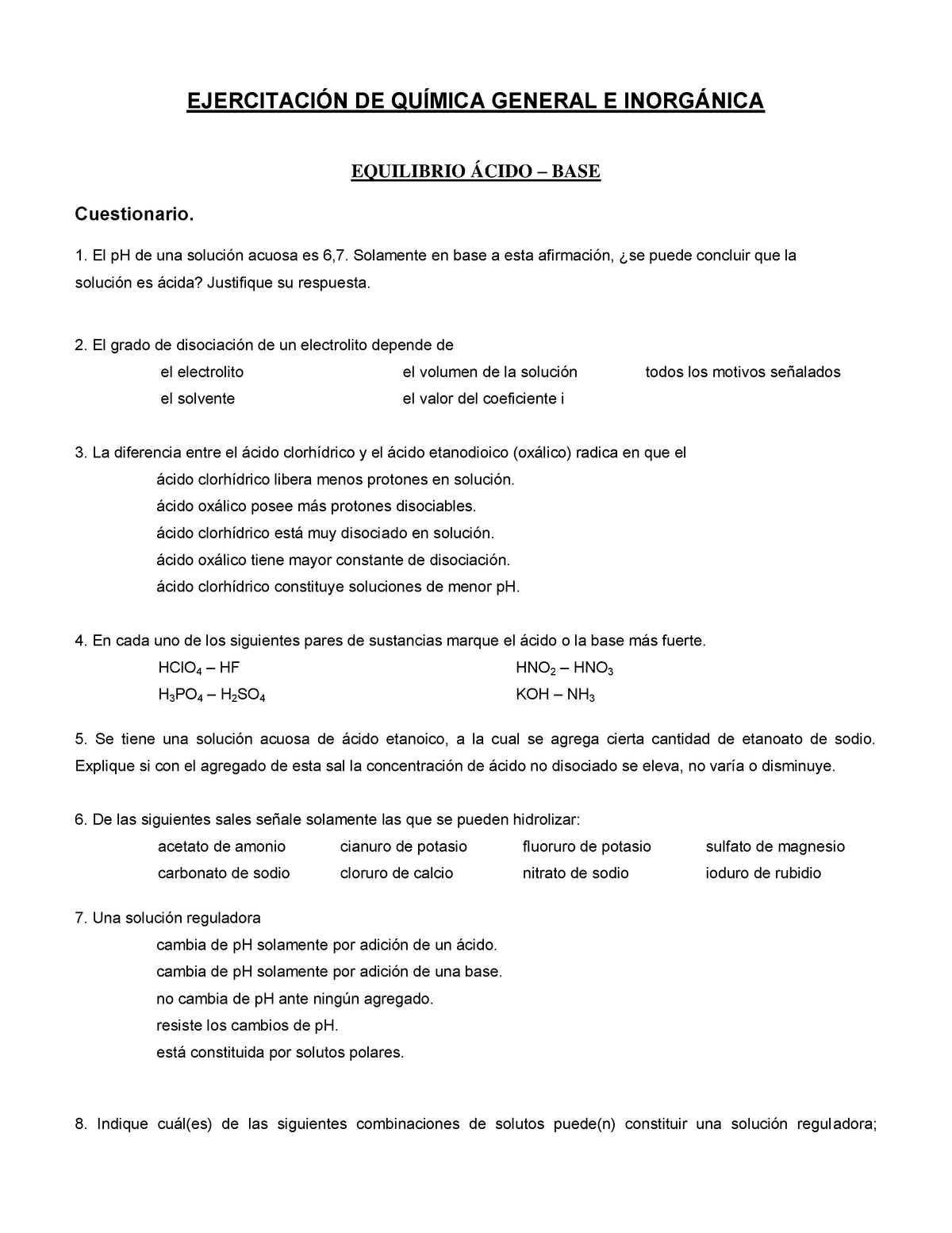 Ejercitacion I Química General e Inorganica - - StuDocu