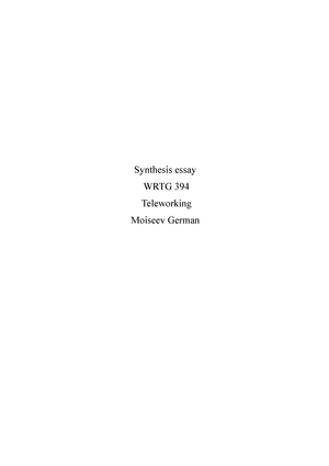 Synthesis Essay Moiseev German  Wrtg  Advanced Business Writing  Synthesis Essay Moiseev German  Wrtg  Advanced Business Writing   Studocu