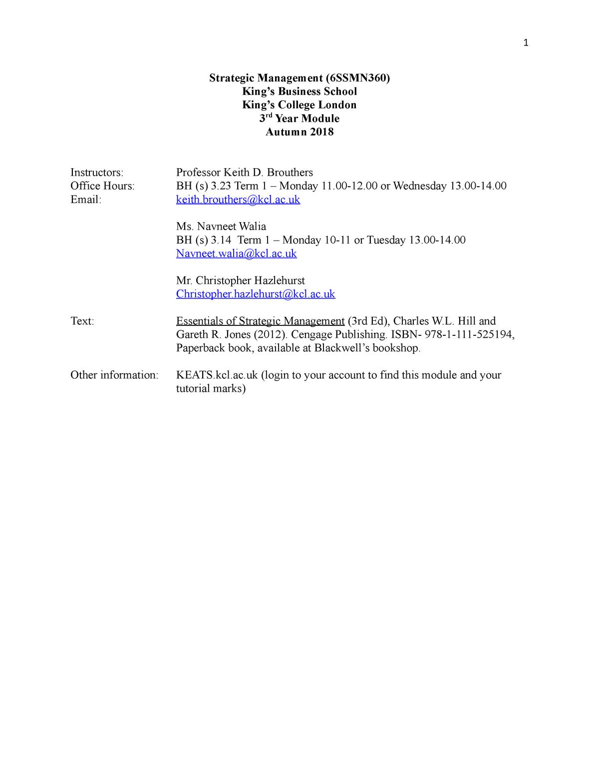 Ed Jones Login >> Module Syllabus 4zss0028 Strategic Management Studocu