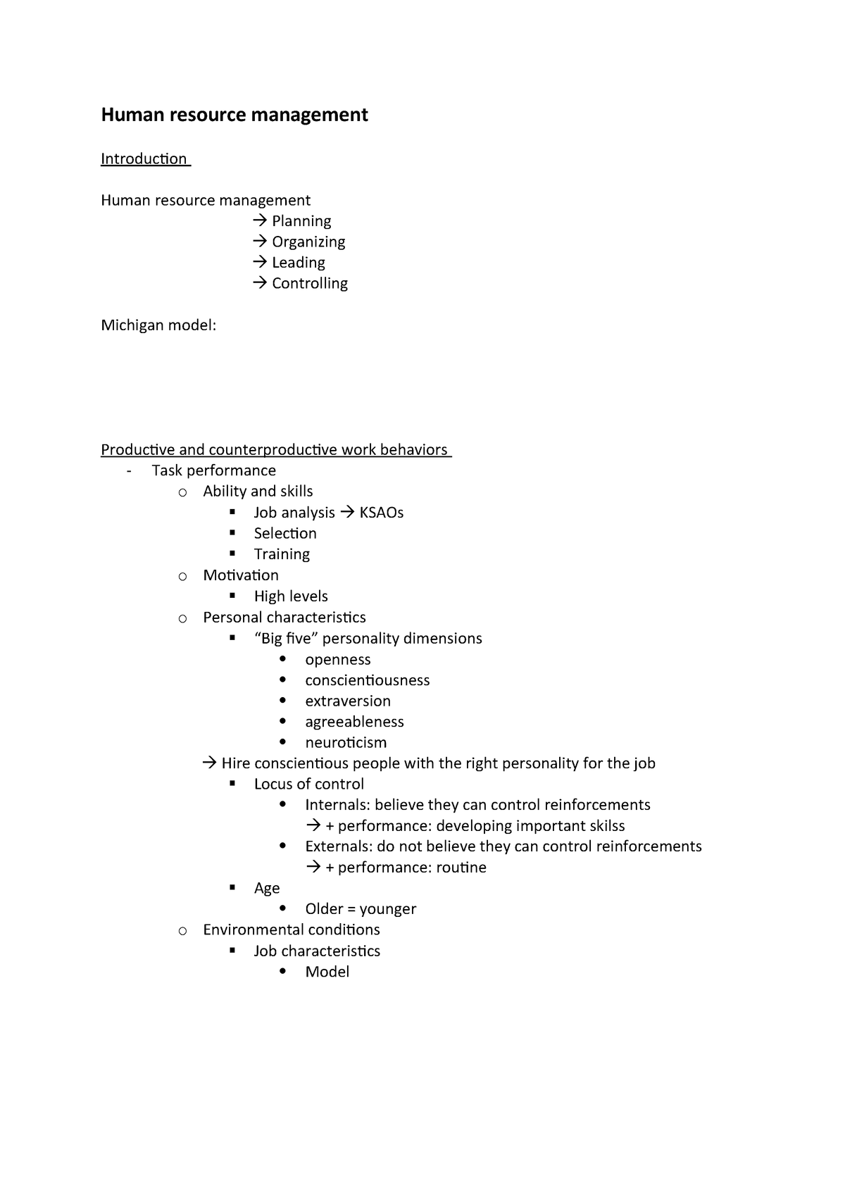 Human resource management - 3709 - StuDocu
