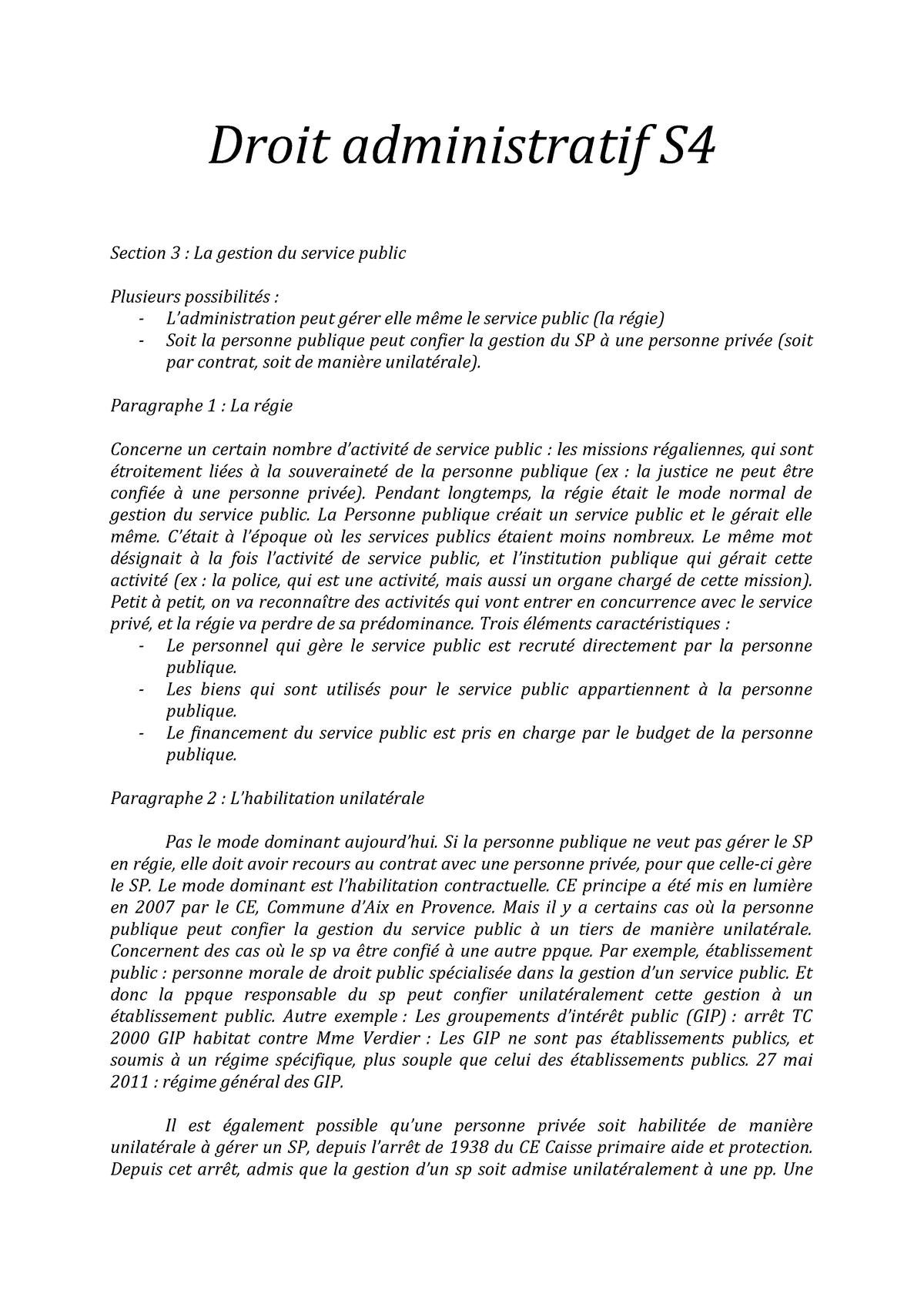 Droit administratif S4 - Droit administratif - StuDocu