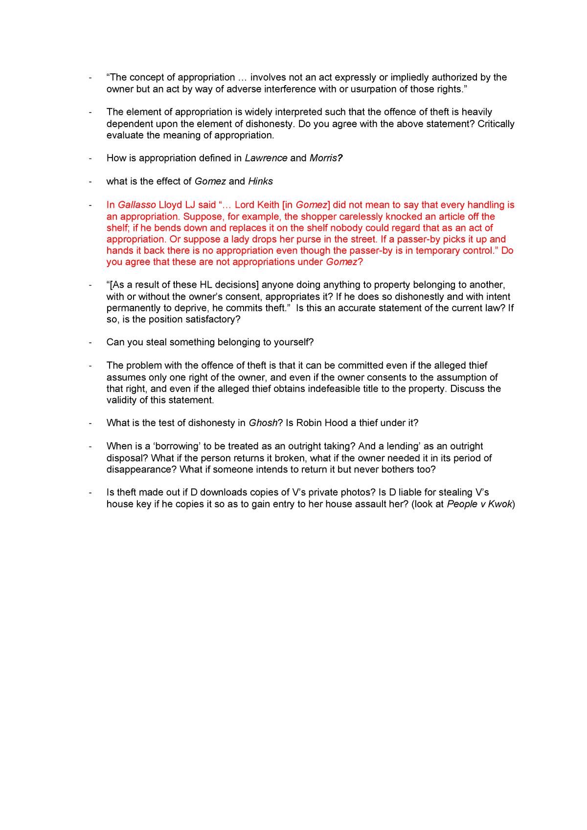 Theft Essay Plan Criminal Law La104 Studocu