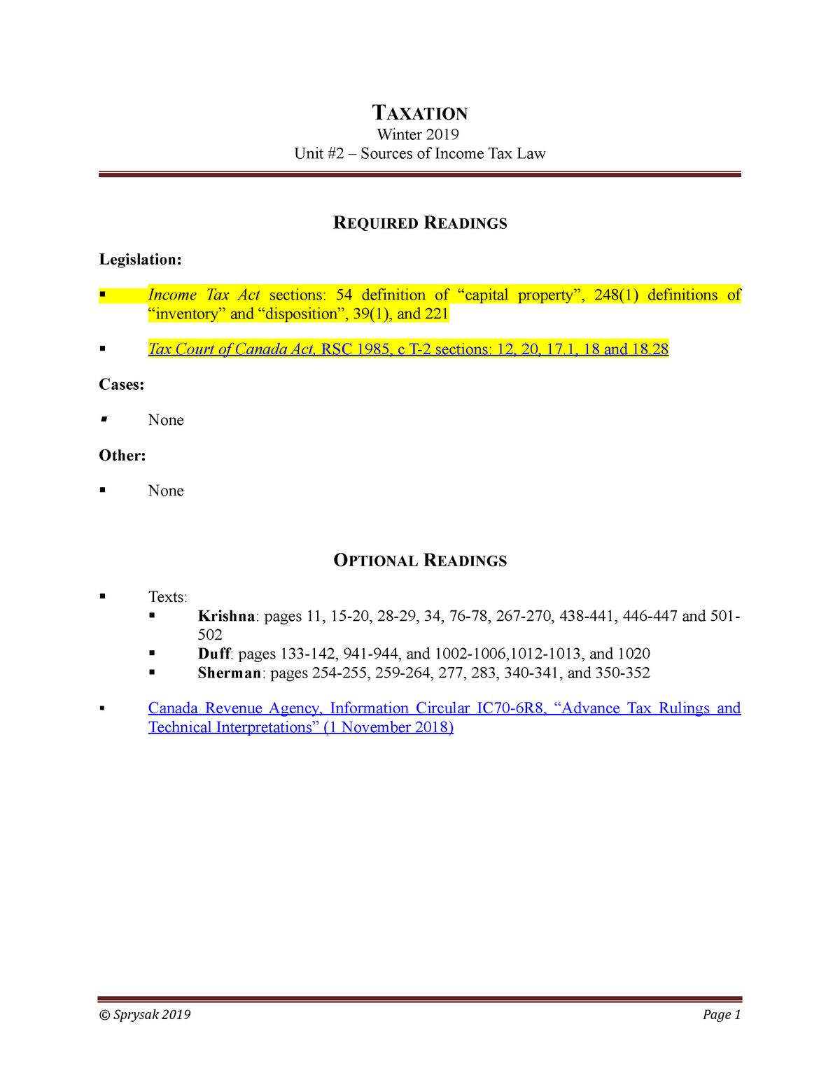 Unit 2 Reading List Professor Sprysak Law504 Taxation Studocu