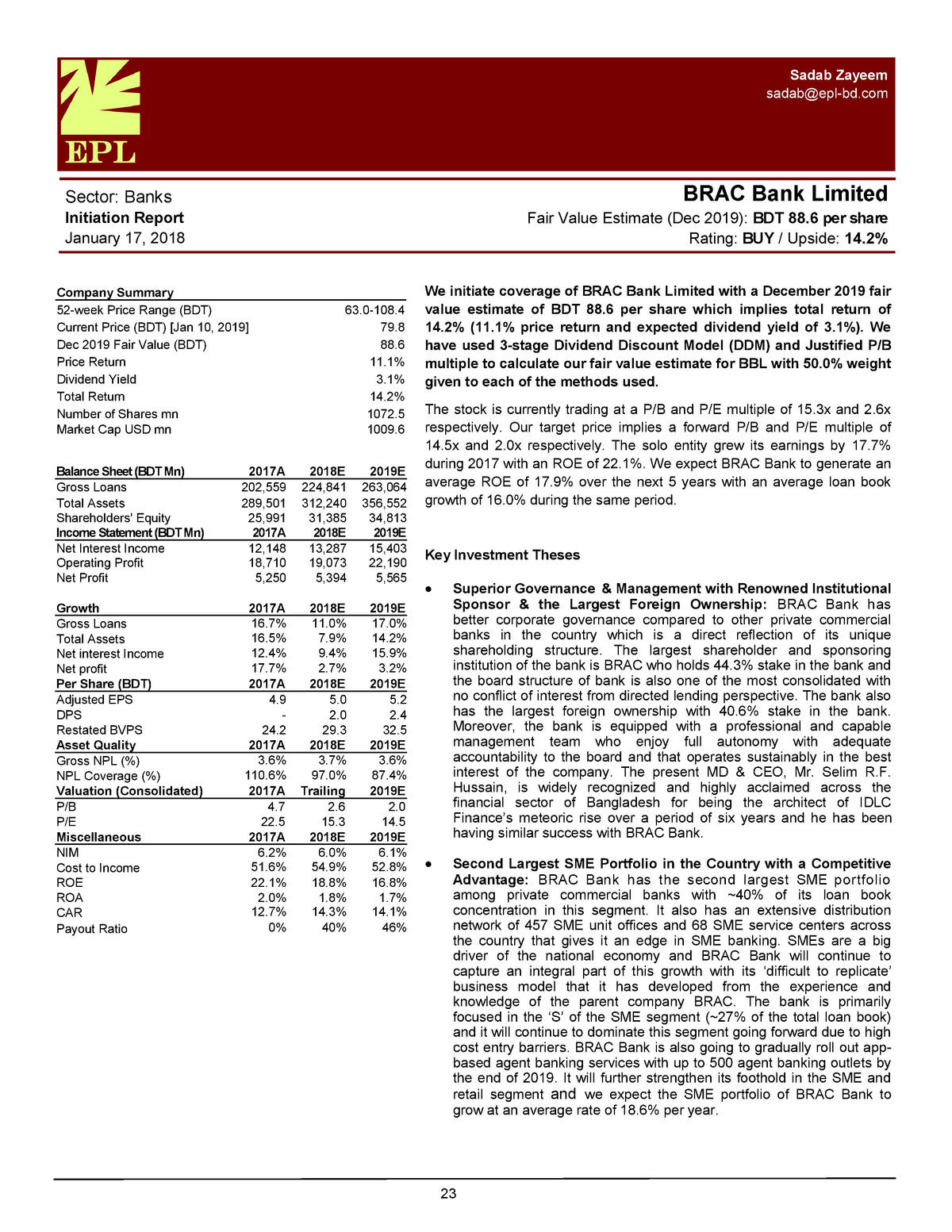 BRAC Bank Valuation - ECO317: Money, Banking and Financial