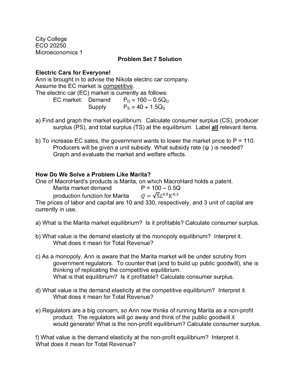 Problem Set 7 - ECO 20250 Intermediate Microeconomics - CCNY