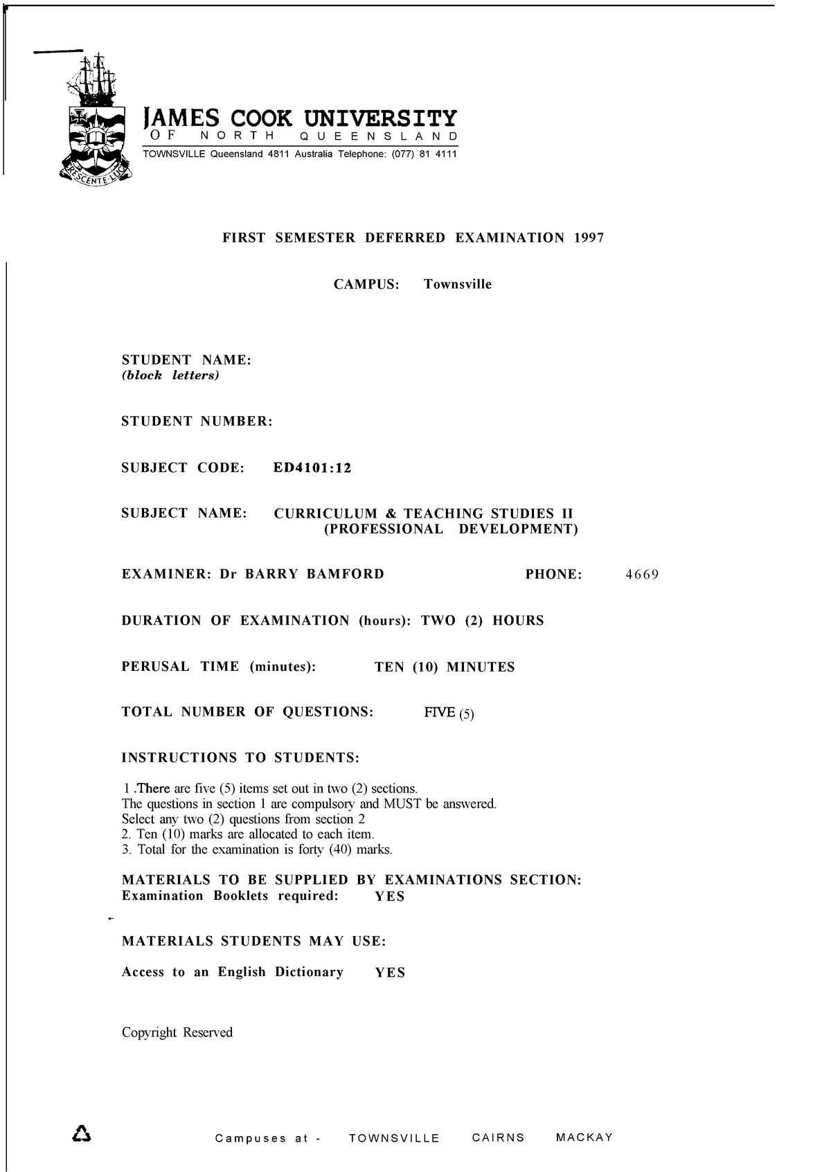 Exam 2008 - Ed4101: Curriculum and Teaching Studies 2 - StuDocu