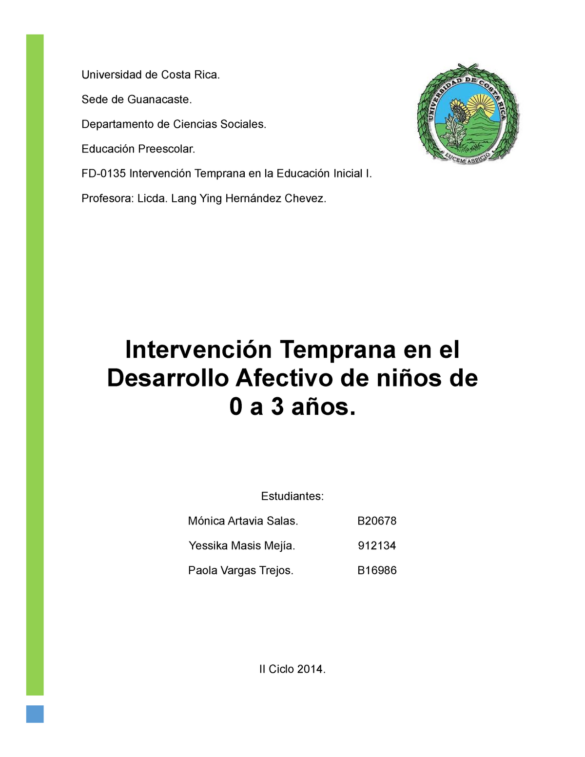Exposicion Intervencion Temprana En El Desarrollo Afectivo Fd0135
