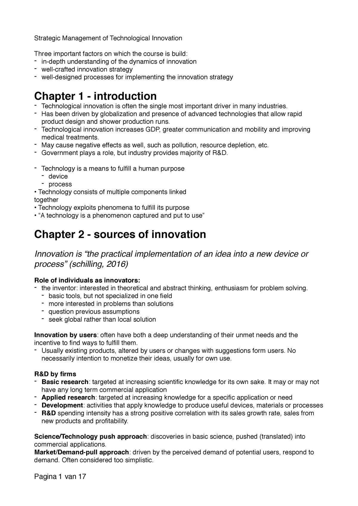 Samenvatting Strategic Management of Technological