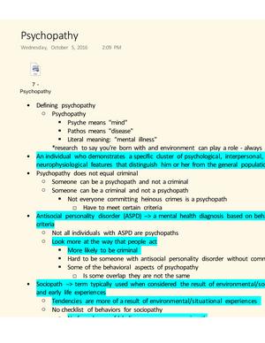 psychopathy lecture note 7 crim 4700 psychology of crime studocu