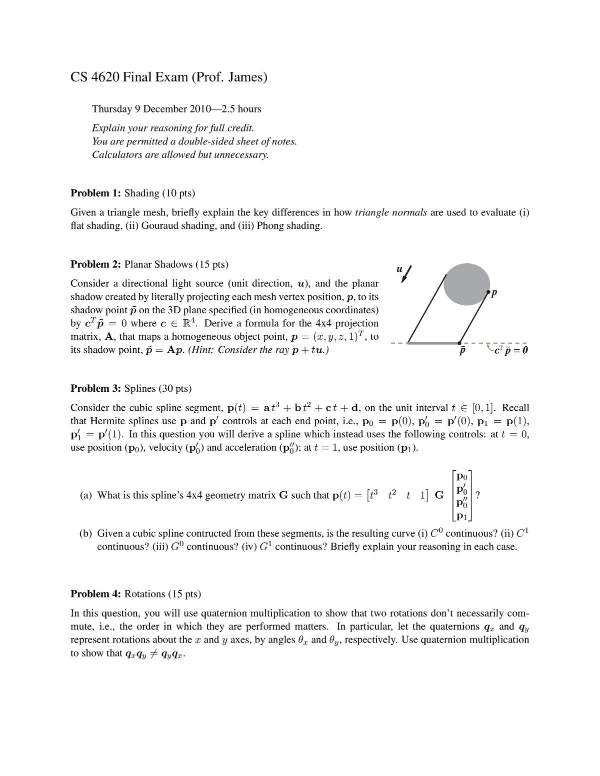 Exam 2010 - ARCH 3704: Computer Graphics I - StuDocu