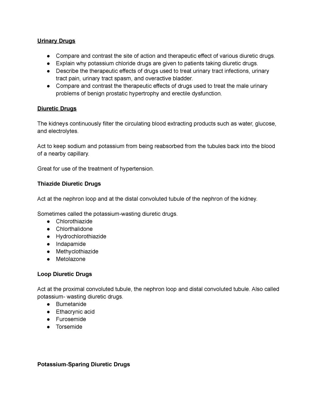 Module 20   lecture notes for final exam Urinary Drugs Compare and ...