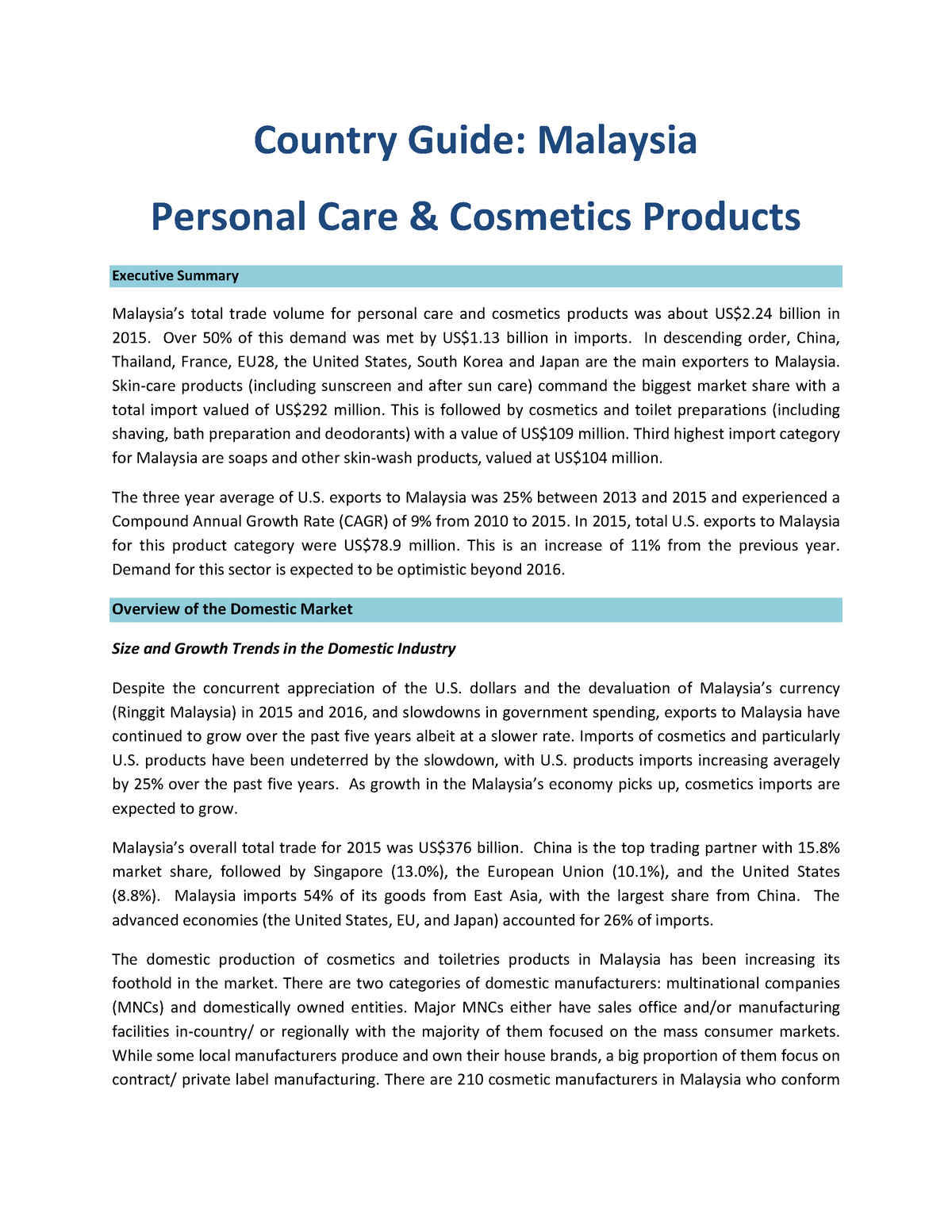 Malaysia Personal Care and Cosmetics Country Guide Final