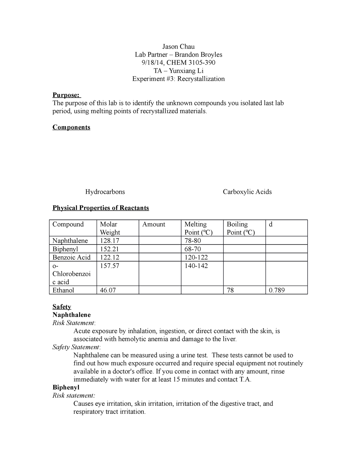 Lab 3 - CHEM 3105 Expt Organic Chemistry I - TTU - StuDocu