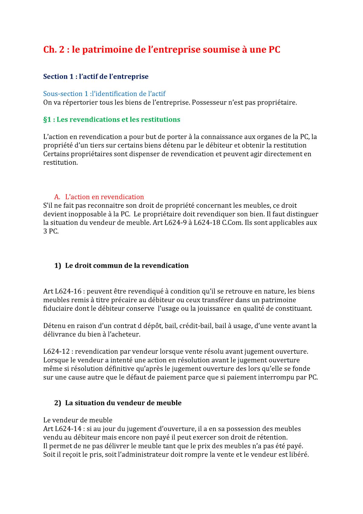 Reconnaitre Le Style D Un Meuble droit commercial s3 partie 2 titre 2 chapitre 2 section 1