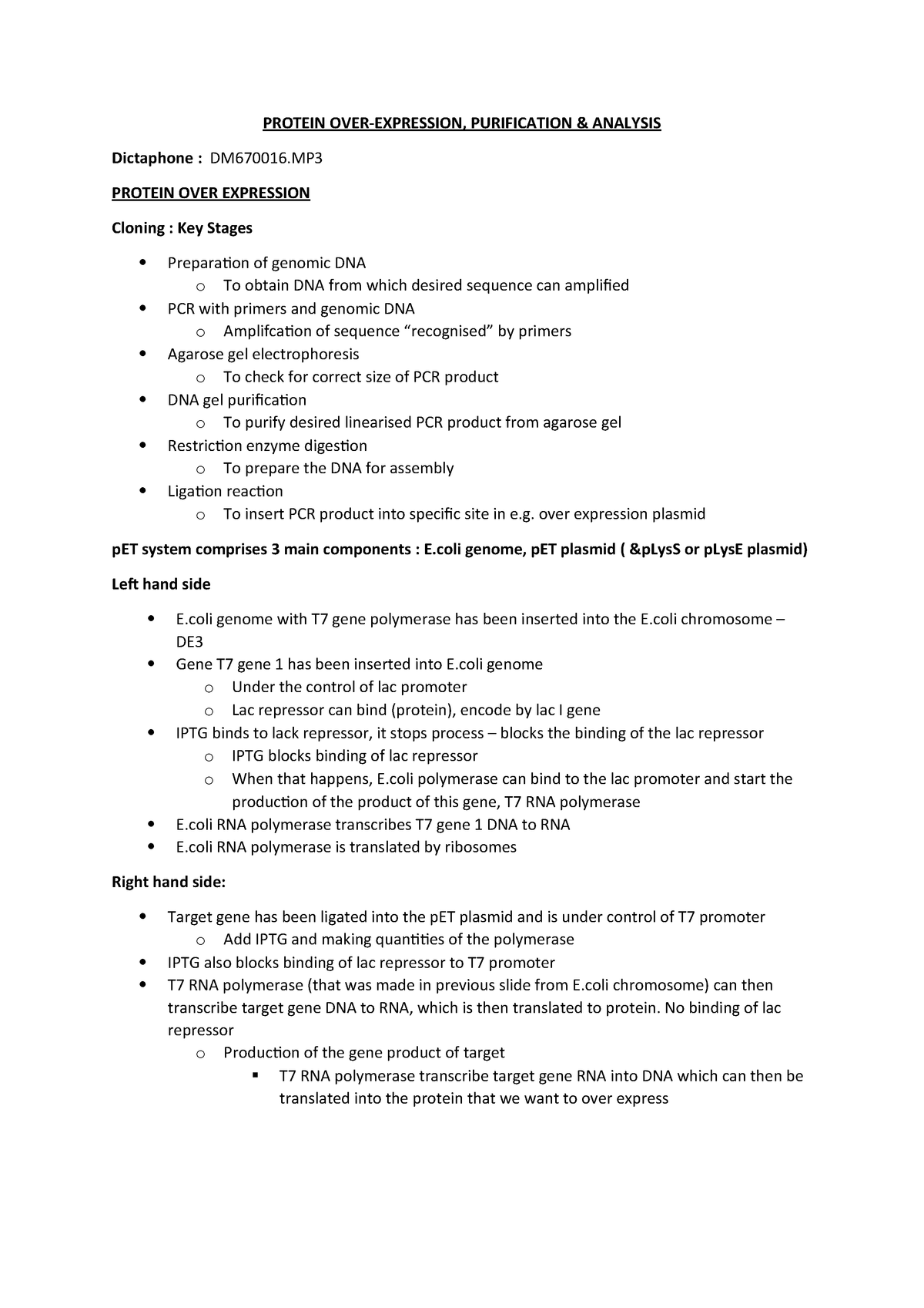 Lecture 5 Notes - Protein OE - BIOL4033: Core Skills in