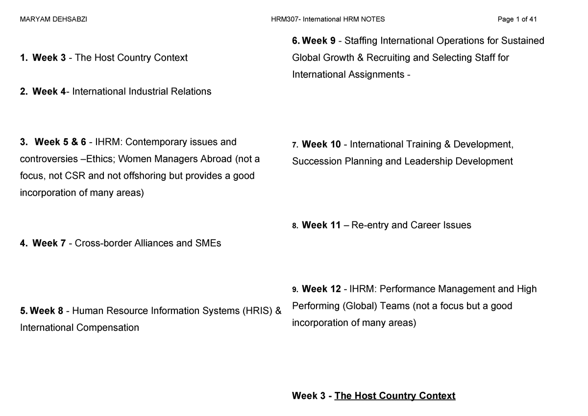 International HR Notes - 200621: International Human