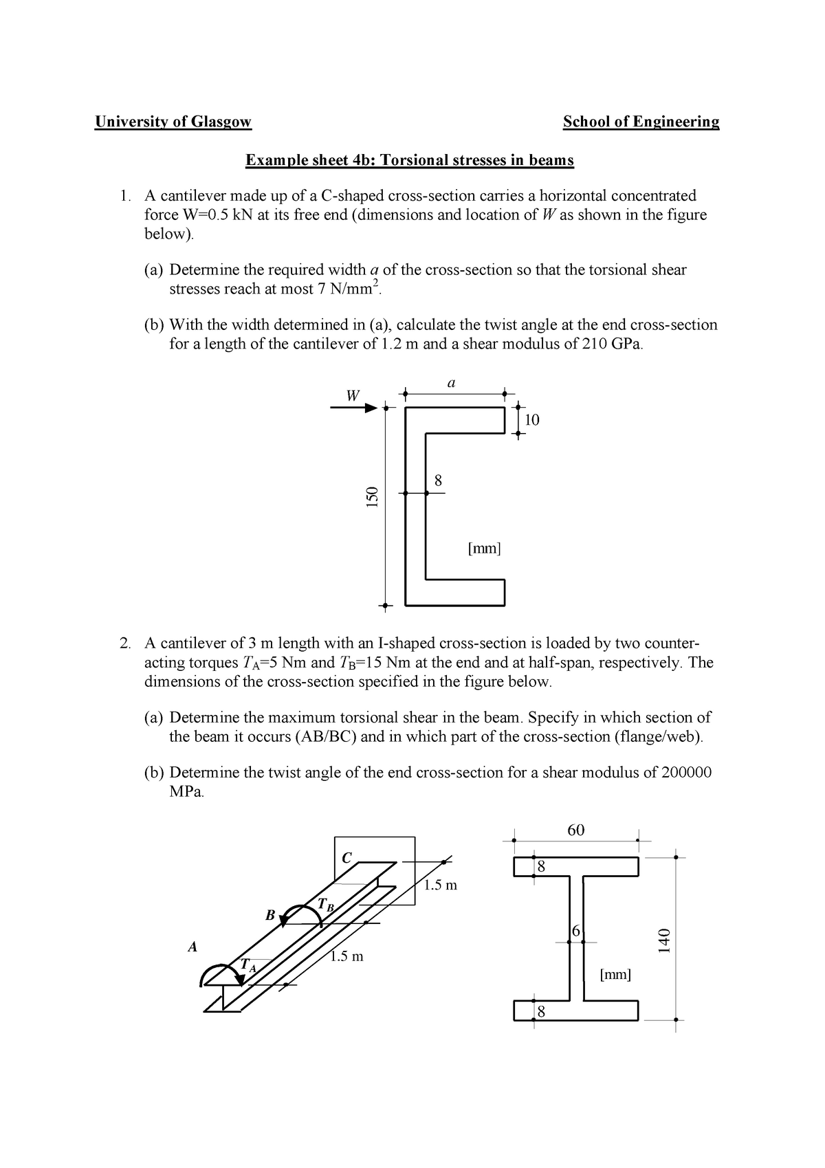 Tutorial 4B - Torsional Stresses in Beams Part 2 - ENG2081