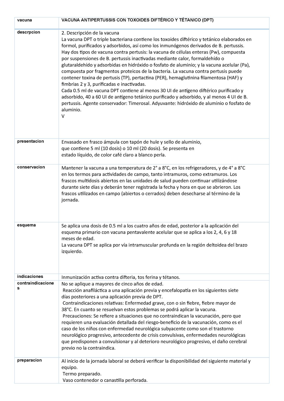 componentes de la vacuna dpt