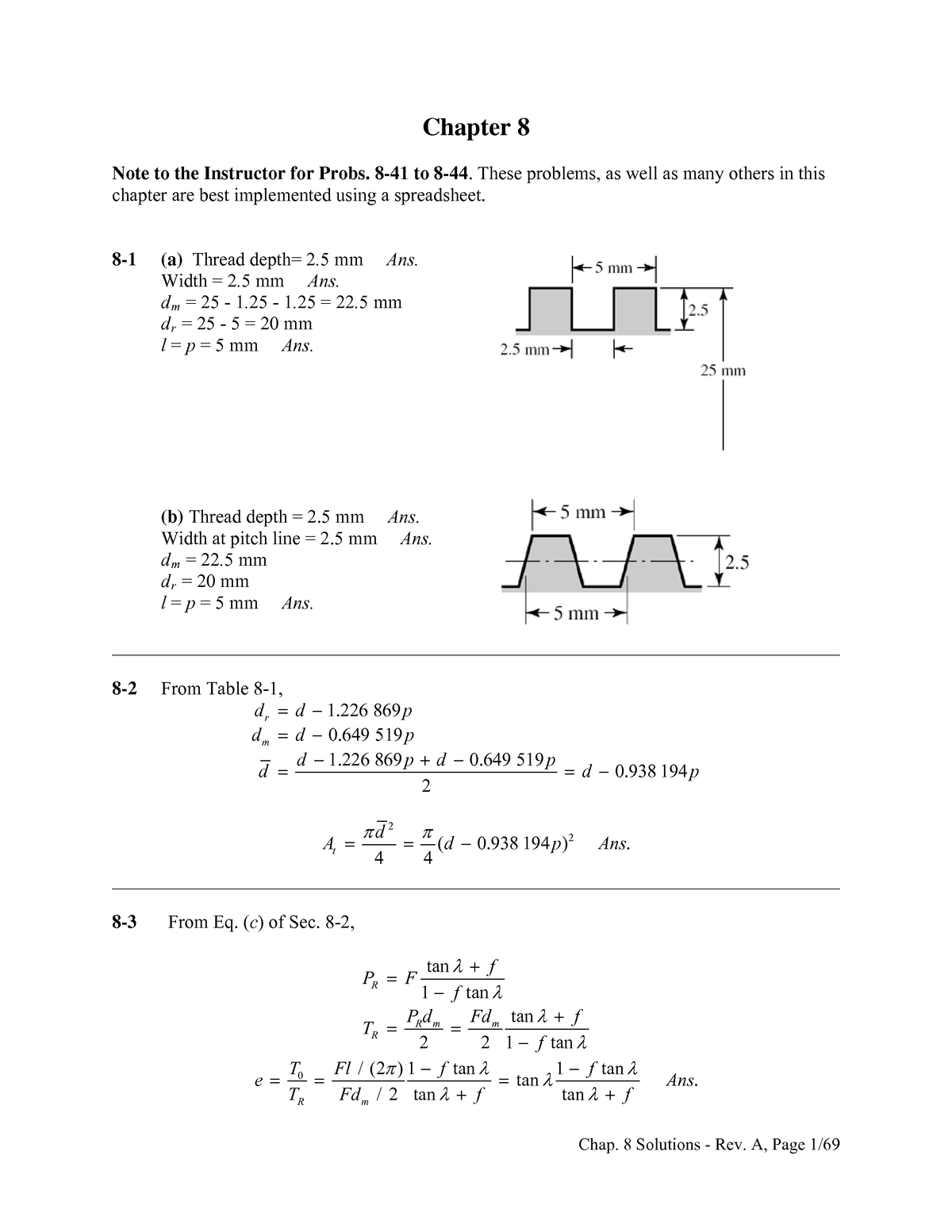 Chapter 8 Solutions Solution Manual Shigley S Mechanical Engineering Design Studocu