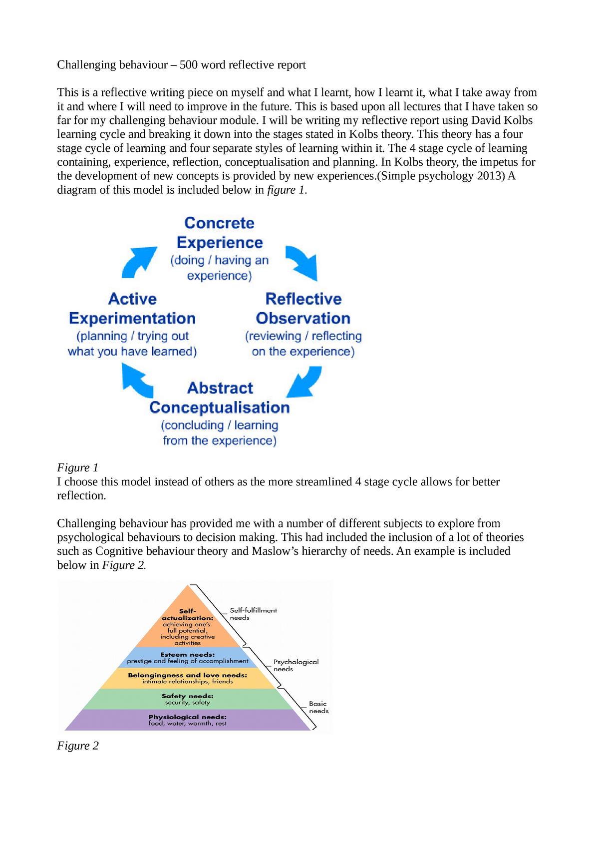 Reflective report 1 - CJS3001: Dealing With Challenging Behaviour