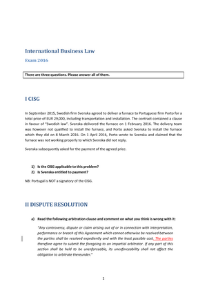 Exam   Babinbou International Business Law  Studocu