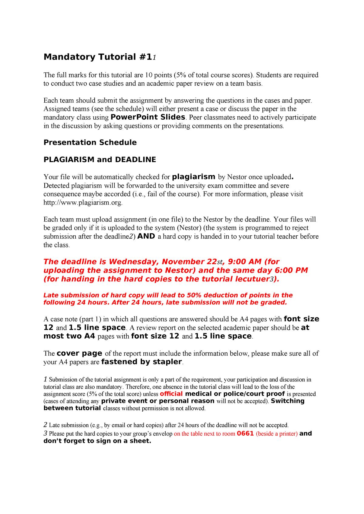 Mandatory Tutorial - EBB068A05: Operations and Logistics