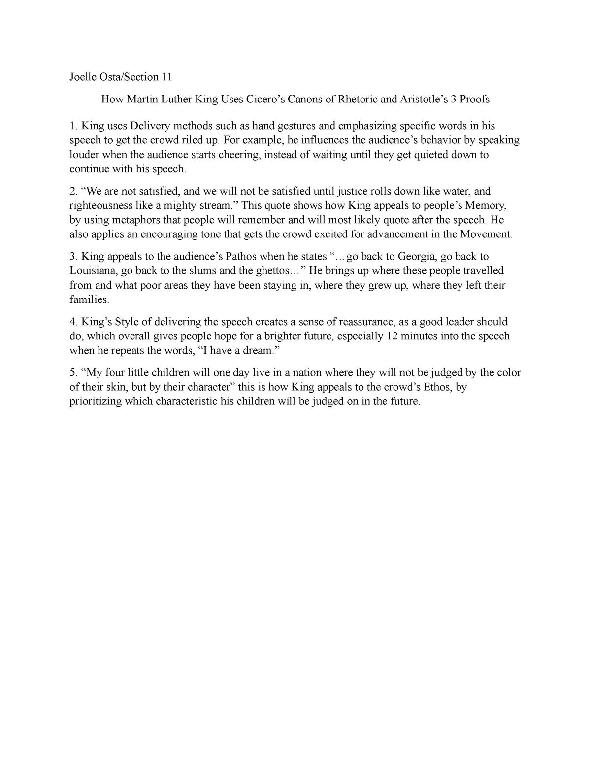 MLK Human Com speech reflection - COM 1100 : Human