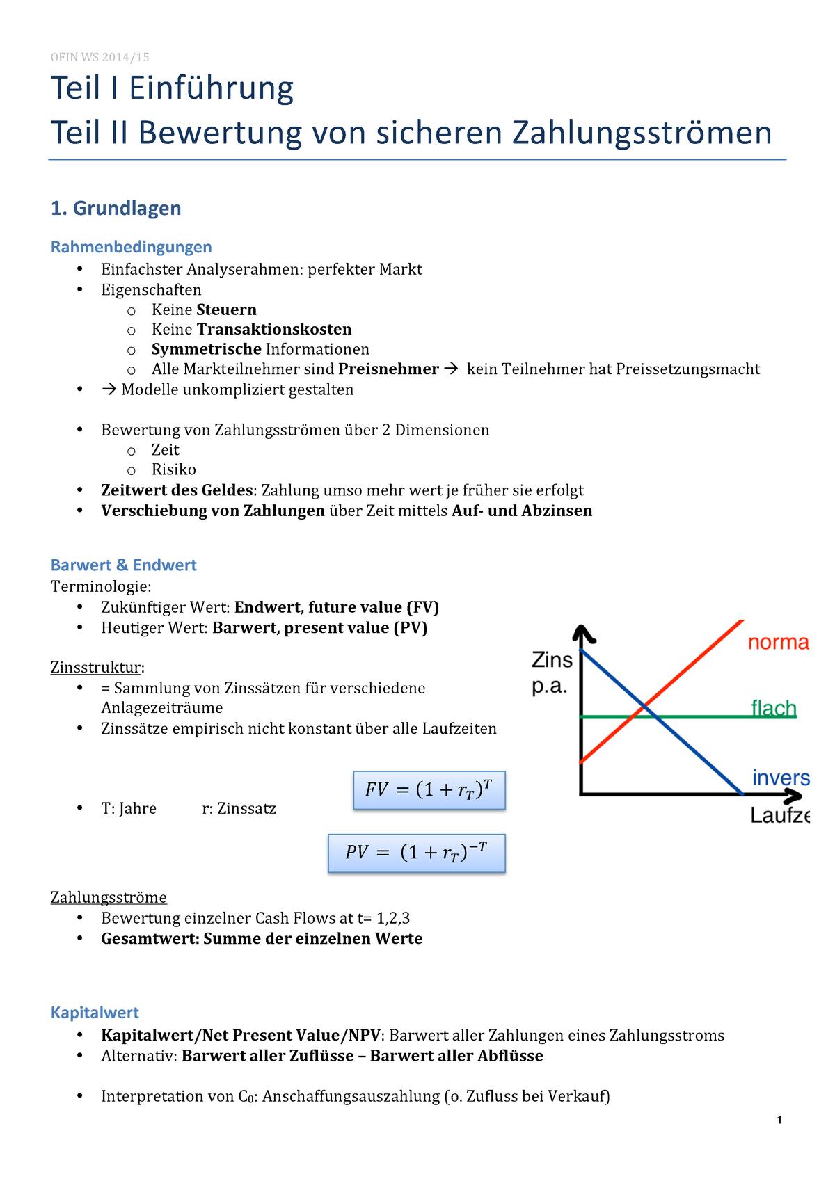 OFIN Vorlesung Zusammenfassung - Finanzen 1 - StuDocu